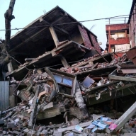 Imphal : Damaged houses in Imphal as a powerful earthquake measuring 6.7 on the Richter Scale rocked Manipur on Jan. 4, 2016. (Photo: IANS)