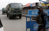 Pathankot: Security beefed up around Pathankot Indian Air Force (IAF) base on Jan 6, 2016. (Photo: IANS)