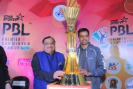 New Delhi: BAI president and PBL chairman Dr Akhilesh Das Gupta  and Indian badminton team`s chief coach Pullela Gopichand during the trophy unveiling ceremony of Premier Badminton League (PBL) - 2016 in New Delhi, on Jan 16, 2016. (Photo: IANS)
