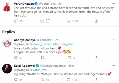 Varun Dhawan overwhelmed with love post marriage to Natasha (credit: @Varun_dvn/twitter)