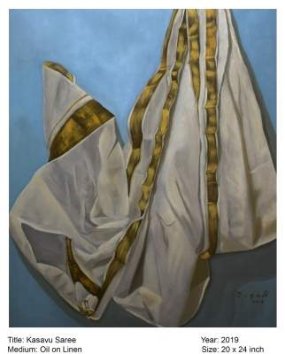 Saree-inspired paintings on view at a Delhi exhibition