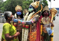 Lord Ram devotees spread message of social distancing, wearing a mask