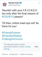 Mumbai Police give 'Friends' reunion witty spin to spread Covid awareness