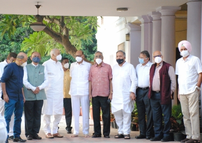New Delhi: Yashwant Sinha along with other Opposition leaders and eminent personalities gathered at Nationalist Congress Party chief Sharad Pawars residence in Delhi on Tuesday June 22, 2021. (Photo: Qamar Sibtain/ IANS)