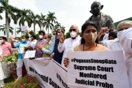Cong, Sena, DMK protest over snooping issue in Parliament premises